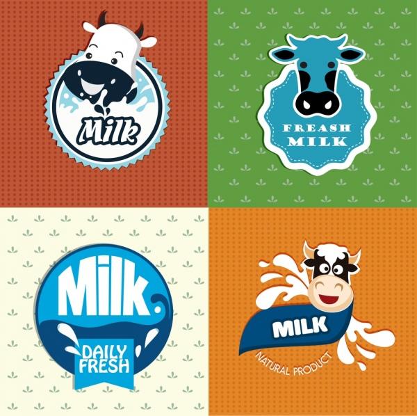 milk logotypes cow head splashed liquid icons