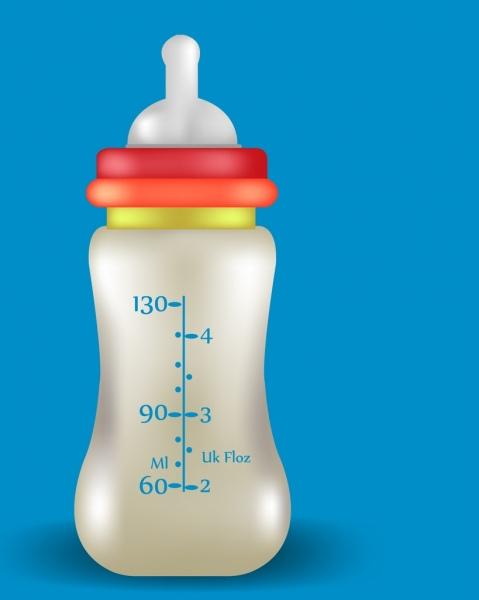 milk promotion banner realistic baby bottle ornament