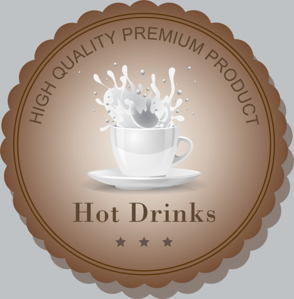 milk quality label template cup splashing liquid icons