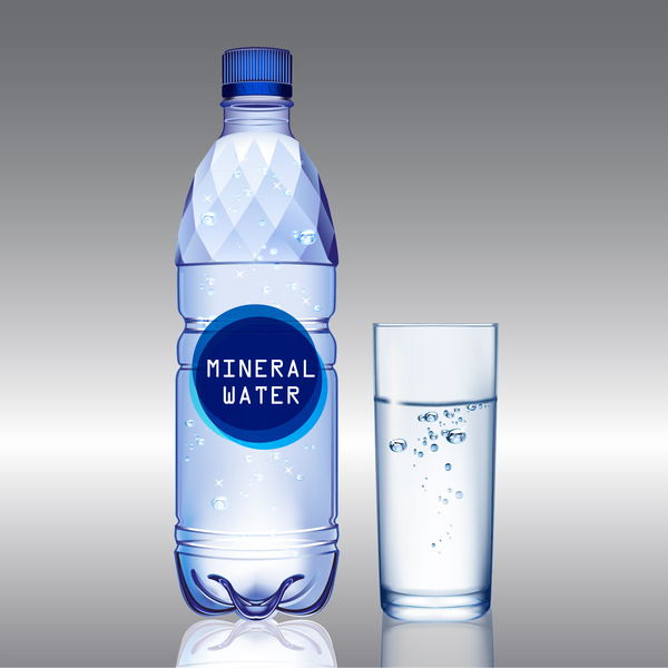 Mineral Water Bottle And Glass Free Vector In Adobe