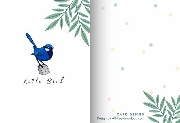 mini card template cute bird leaf decor