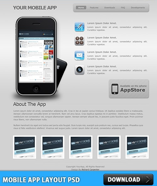 Mobile App Layout PSD Free psd in Photoshop psd (  psd