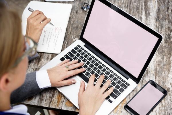 mockup of business woman using laptop