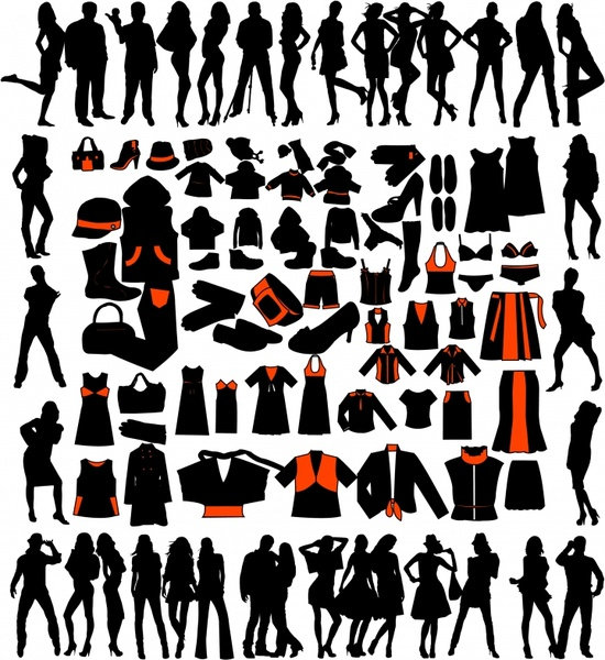 fashion design elements models accessories icons silhouette sketch
