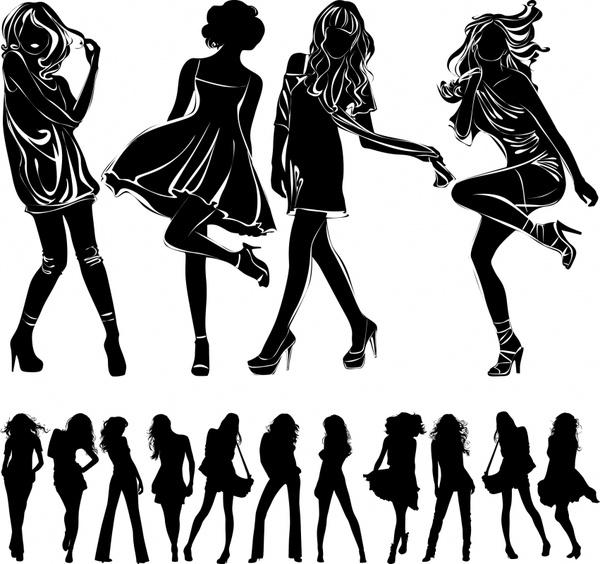 modern girls icons black silhouette design
