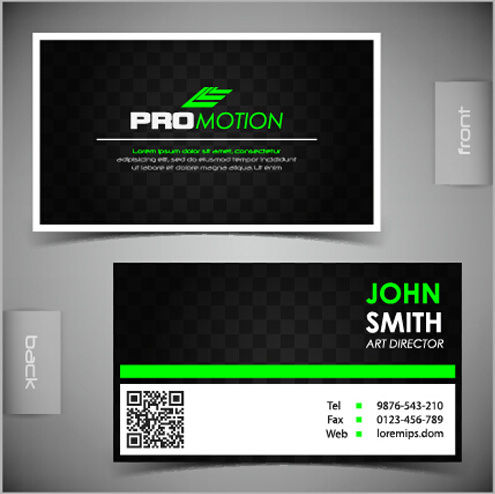 Modern Business Cards Front And Back Template Vector Free Vector In