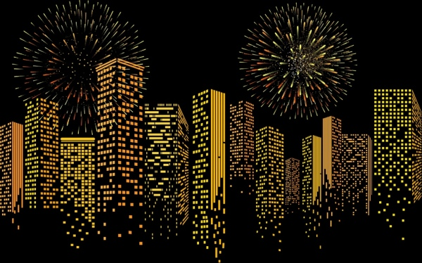 modern city background yellow lights building fireworks decor