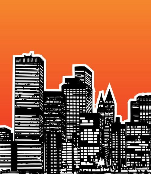 modern city building design vector