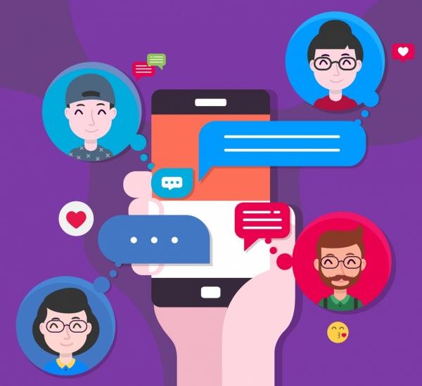 modern communication background smartphone human avatar message icons