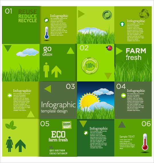 modern ecology infographics green template vector