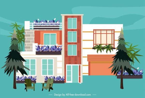modern house icon front view decor sketch