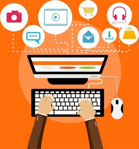 modern lifestyle background laptop internet icons decor
