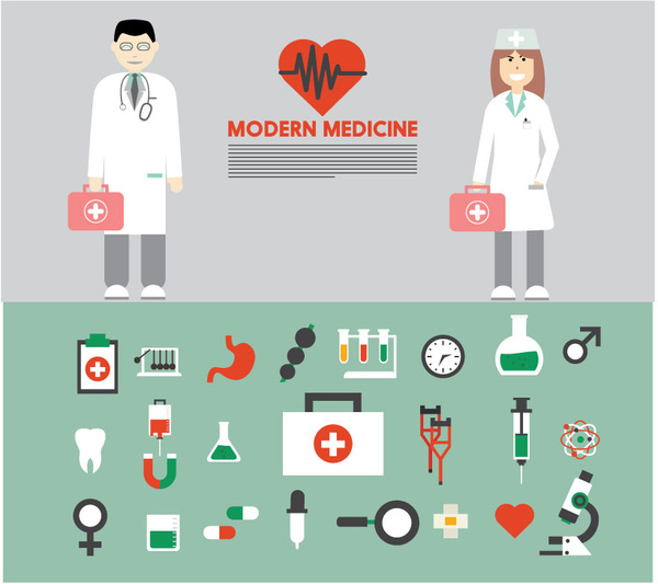 modern medicine banner with tools sets and doctor