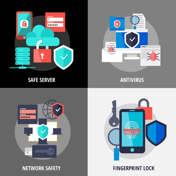 modern network security tools isolated with various styles