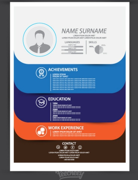 Modern Resume Template Free Vector 1.23MB