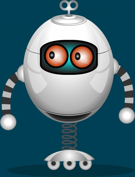 modern robot icon shiny white spring wheel design