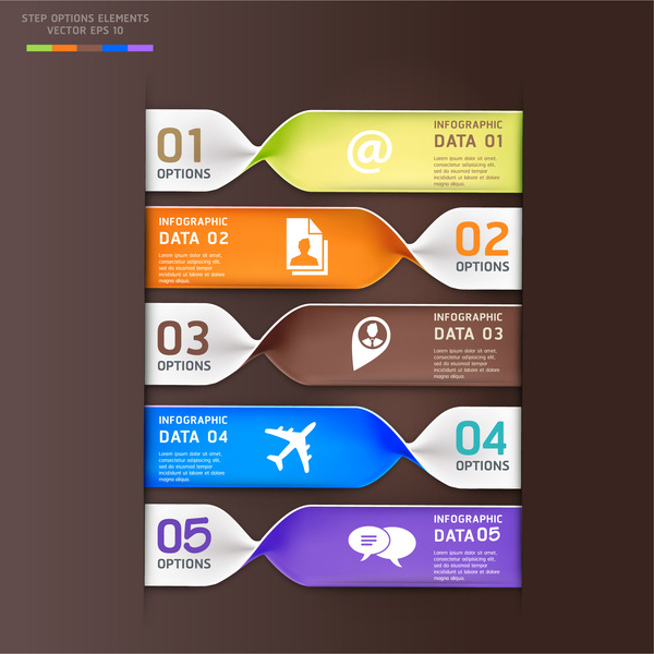 modern style infographic vector with twisting tickets design