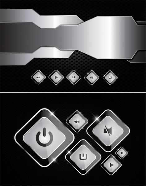 modern technology background shiny silver button decor