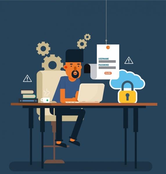 modern workplace drawing man laptop desk gear icons