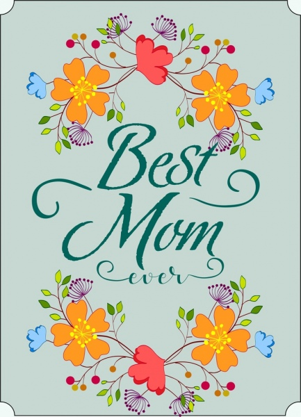 mom day card background colorful flowers decoration