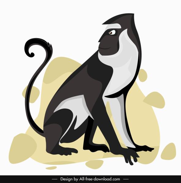 monkey icon black white handdrawn sketch