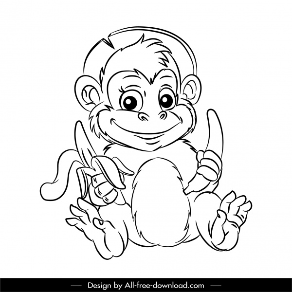 Monkey Icon Cute Cartoon Sketch Back White Design Free Vector In Adobe Illustrator Ai Ai Format Encapsulated Postscript Eps Eps Format Format For Free Download 1 28mb