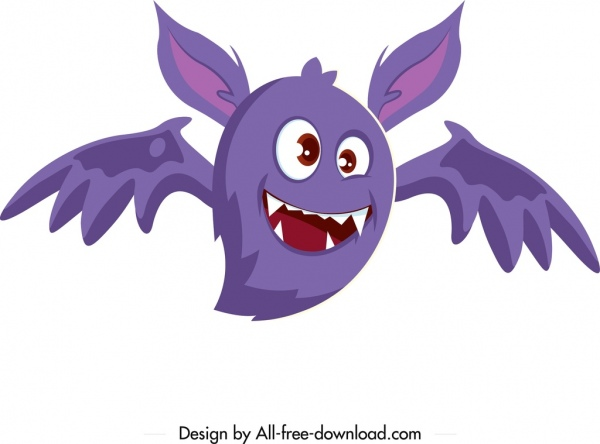 monster icon funny cartoon character sketch winged shape