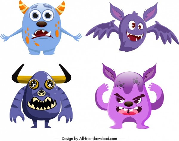 monster icons colored modern design funny cartoon characters