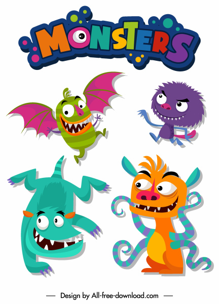 monsters icons funny cartoon characters colorful design
