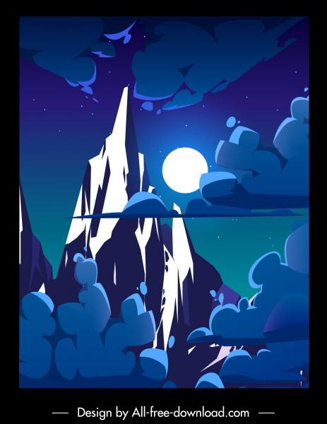 moon mountain peak scene painting colored classic