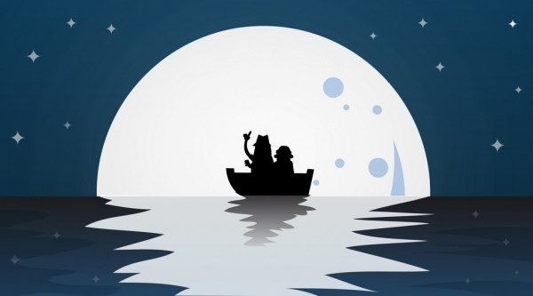 moonlight background seaboat icons silhouette decor