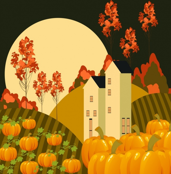 moonlight landscape drawing pumpkin house tree icons decoration