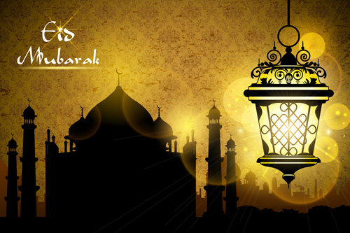 mosque night backgrounds vector