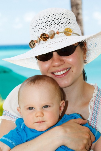 mother and baby on summer holiday