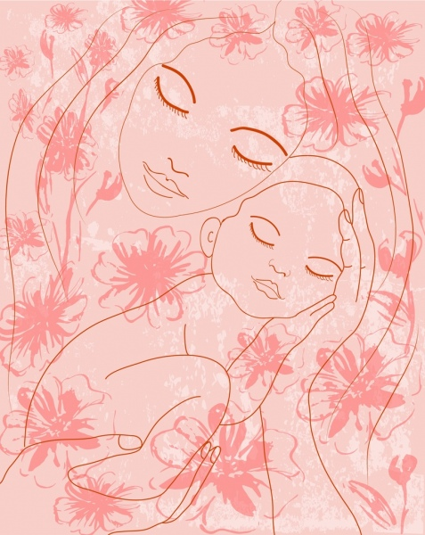 mother and kid background hand drawn sketch