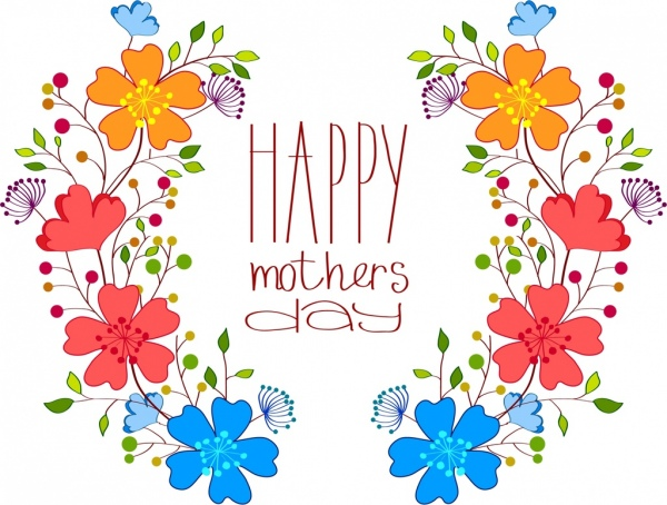 mother day backdrop colorful flower design handdrawn style
