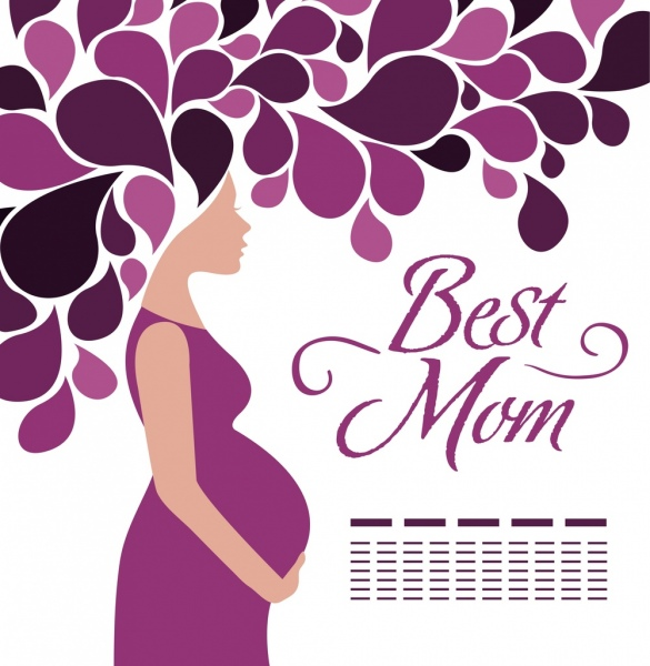 mother day background violet decoration pregnant woman icon