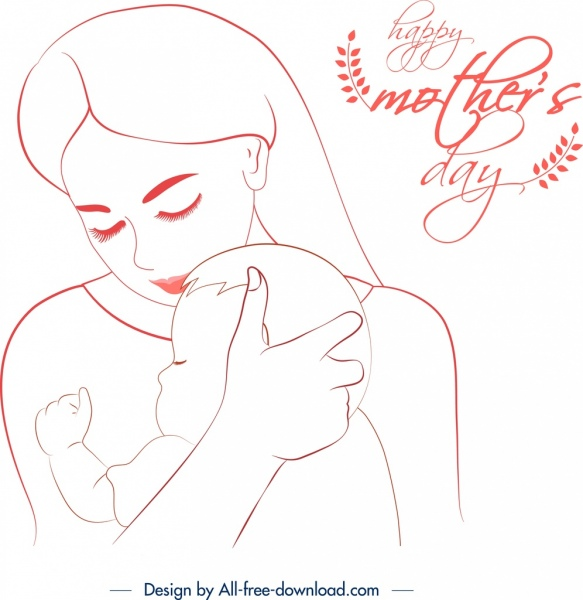 mother day banner affection symbol cute handdrawn sketch