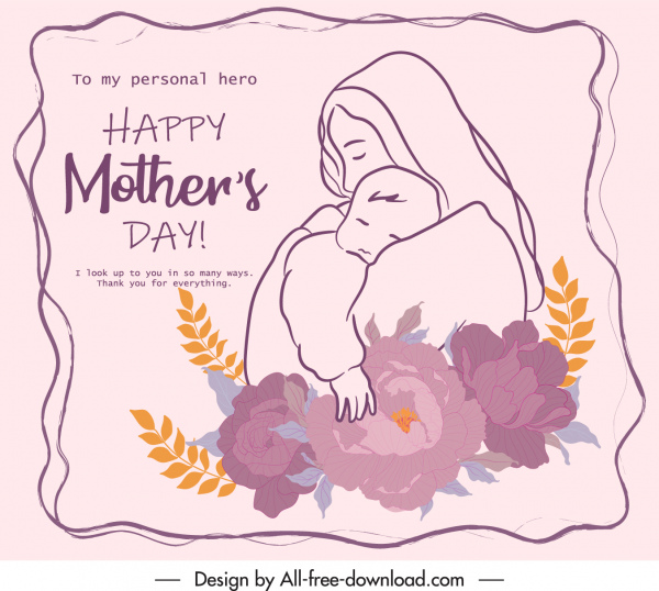 mother day banner elegant handdrawn vintage botanical decor