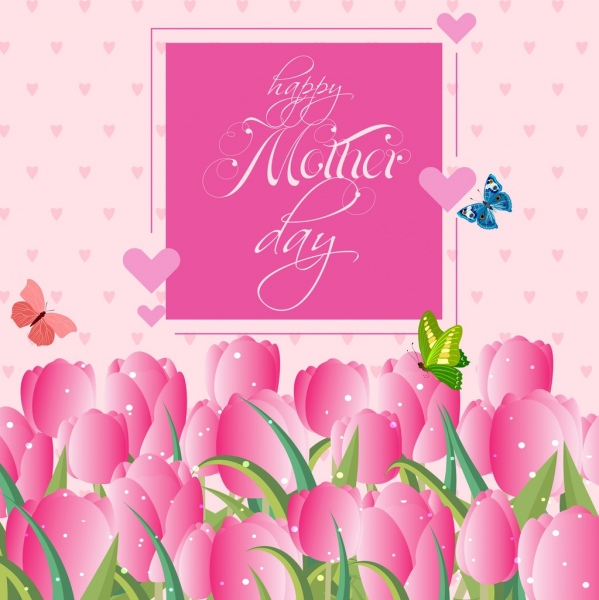 mother day banner pink tulips heart butterflies decoration