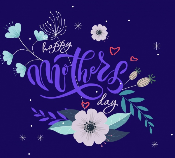 mother day banner violet texts calligraphy flowers decoration