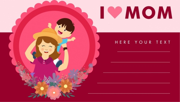mother day cards cartoon style pink decoration