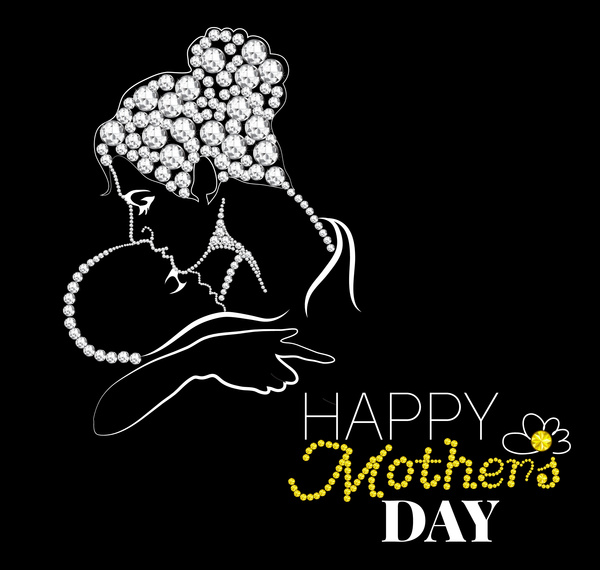 mother day card design on black white background