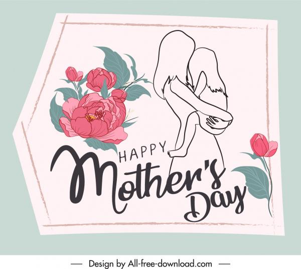 mother day card template elegant handdrawn vintage sketch