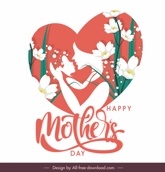 mother day design elements sentiment flora heart sketch