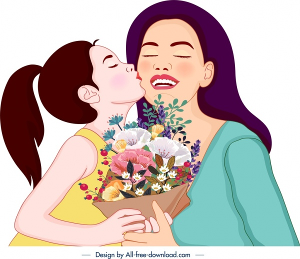 mother day painting daughter kissing mom cartoon characters