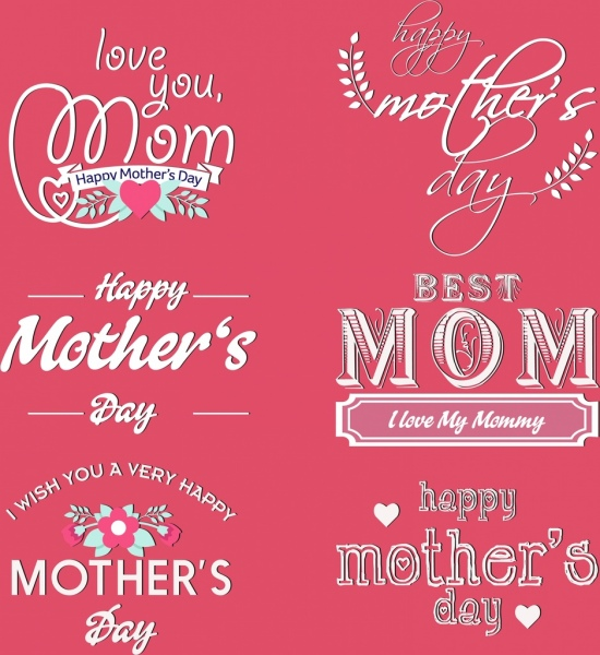 mother days design elements various calligraphic decoration