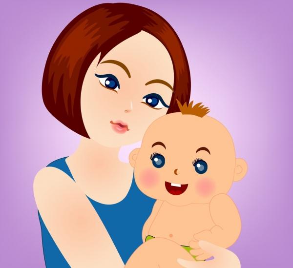 motherhood drawing woman baby icons colored cartoon