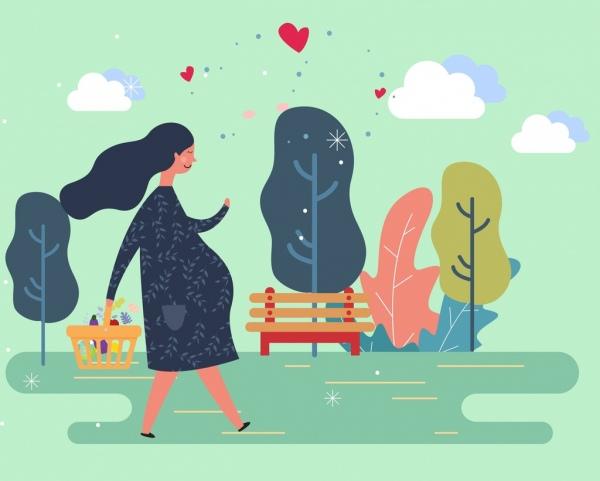 motherhood painting pregnant woman icon cartoon design