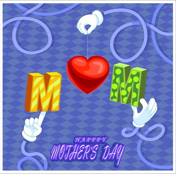 mothers day banner design with heart and symbol texts